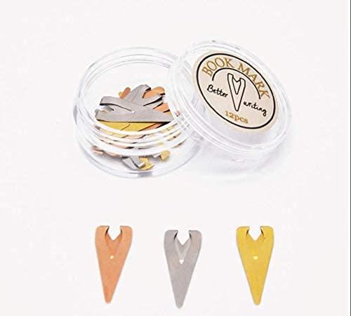 AKAMAS Marcador de posicionamiento para marcapáginas de metal hueco, mini carpeta creativa de etiquetas pequeñas, 12 unidades