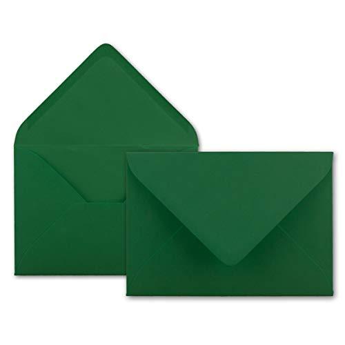 50x Brief-Umschläge in Dunkel-Grün - 80 g/m² - Kuverts in DIN B6 Format 12,5 x 17,6 cm - Nassklebung ohne Fenster