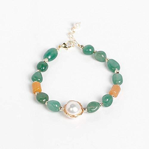 Pulseras para Mujer Vintage Plata 925 Geometría Pulsera De Piedras Preciosas para Mujer Regalo De Perlas De Agua Dulce De Aventurina Verde