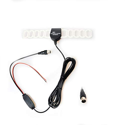 Auto Kfz FM/AM Radio Antenne Verstärker Verbinder Klebeantenne Booster Universal Antennenkabel für Analog/Digital DVB-T ATSC ISDB TV(IEC + Leistung Stecker)