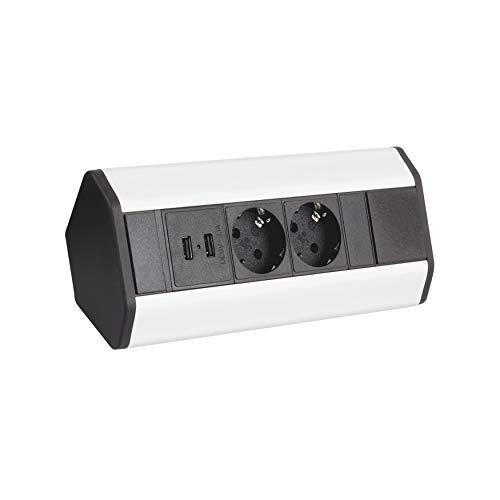 Möbel Steckdosen 2x USB Küchen Steckdose ecksteckdose küche unterbausteckdose aufbausteckdose DLU-2