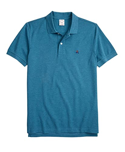 Brooks Brothers Men's Original Fit Supima Cotton Multi Embroidered Performance Polo Shirt (153090 Heather Aegean Blue/Brown, X-Large)
