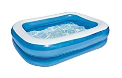 Simple construction - The Family Pool can be inflated quickly and is very easy to set up Robust material - Consisting of sturdy vinyl, the set-up pool promises a long shelf life From 6 years - The swimming pool is suitable for children over 6 years a...