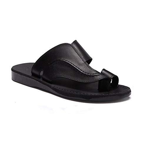 Jerusalem Sandals Mens Peter Black, Durable Handcrafted Real Leather Sandals, Slide Sandals for Men with Toe Loop, Textured Sole, Waterproof, Size 9 US