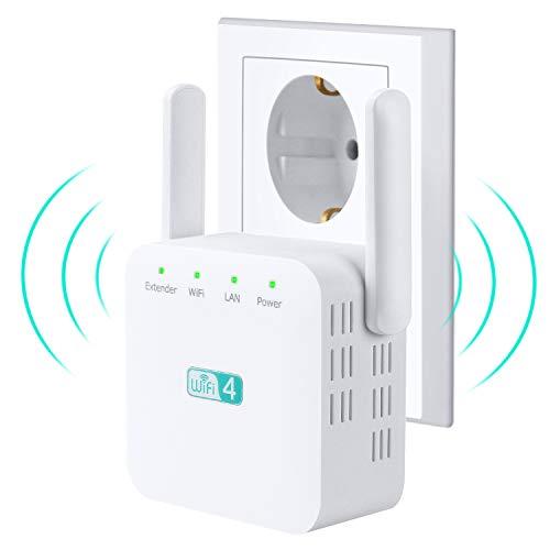 tronisky WLAN Repeater, WLAN Verstärker WiFi Range Extender 300Mbit/s 2,4GHz mit Repeater/Access-Point Modus, LAN Port, WLAN Verstaerker Signalverstärker kompatibel mit Allen WLAN Geräten