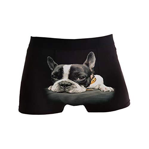 ZZKKO French Bulldog Mens Boxer Briefs Underwear Breathable Stretch Boxer Trunk with Pouch L Black