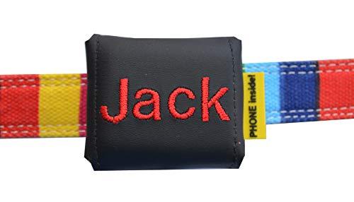 josi.li Trackertasche Bestickt, Nappaleder schwarz oder braun, Stickgarnfarbe wählbar, mit Klett- und Steckverschluss, für GPS-Tracker 51x41x15mm (Schwarz)