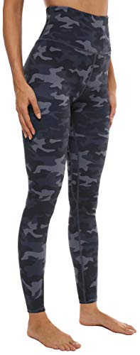 VOEONS Printed Yoga Pants for Women Camo Pattern Exercise Leggings with Pockets High Waisted Tummy Control Athletic Spandex Compression Leggings