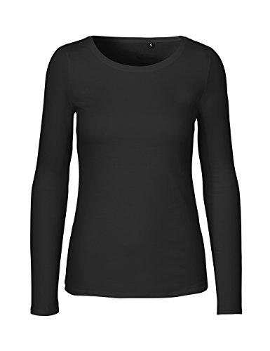 Green Cat- Damen Langarmshirt, 100% Bio-Baumwolle. Fairtrade, Oeko-Tex und Ecolabel Zertifiziert, Textilfarbe: schwarz, Gr. S