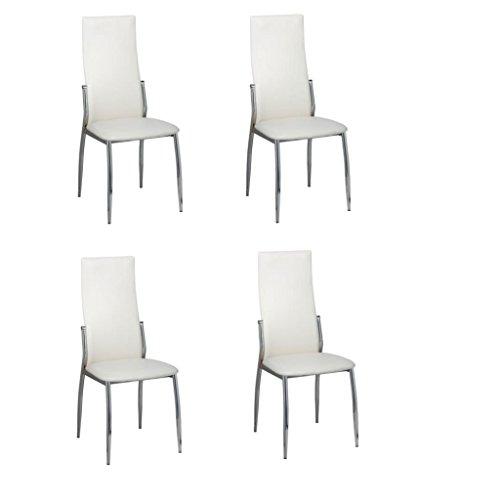 vidaXL 4 sillas de Comedor Cromo de Cuero Blanco