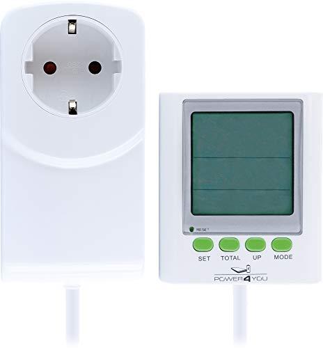 SCHWAIGER -661576- Stromkostenmessgerät Stromverbauchszähler Energiekostenmessgerät separates großes Display Kabelverlängerung Messung Kosten Spannung CO2 Emission Strom Leistung