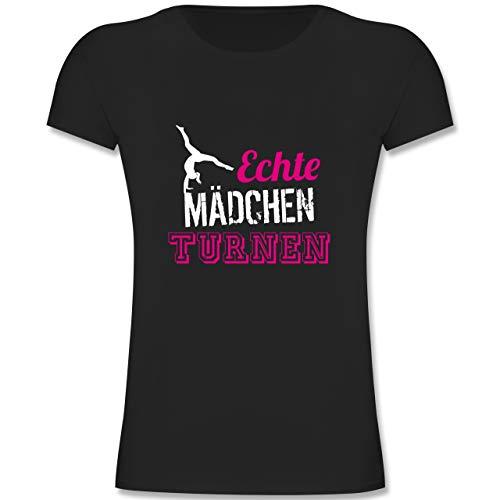 Sport Kind - Echte Mädchen Turnen - 152 (12/13 Jahre) - Schwarz - F131K - Mädchen Kinder T-Shirt