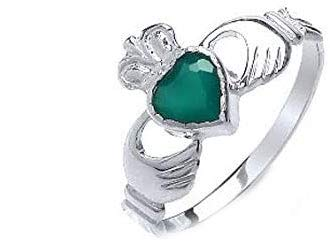 Claddagh Ring Green Agate Solid Sterling Silver Engagement Ladies / Size: O
