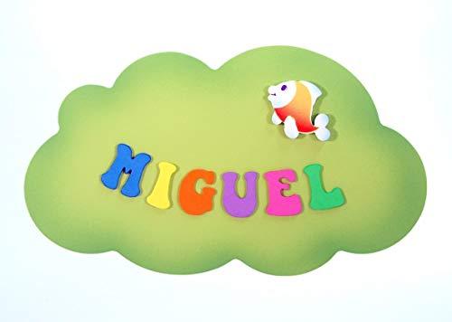 Placa Cartel decorativo infantil de madera forma de *nube* personalizada con el nombre letras de goma eva, regalo original decoración de pared o puerta en habitación.