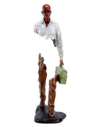 Kunst & Ambiente - Moderne Bronze Skulptur - Erased Man II - limitiert - signiert Martin Klein - handbemalt - Höhe: 60 cm - weiß - braun - grün - fragmentierte Statue - abstrakte Skulptur