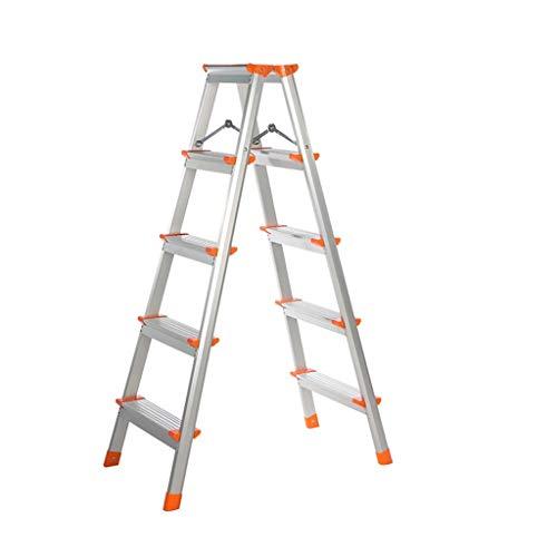 Escalera plegable Aleación de aluminio ultraligero Escalera, de doble cara Ingeniería de escalera de arriba Pedal Ampliación seguridad de la escalera antideslizante Refuerzo de tijera Multifuncional