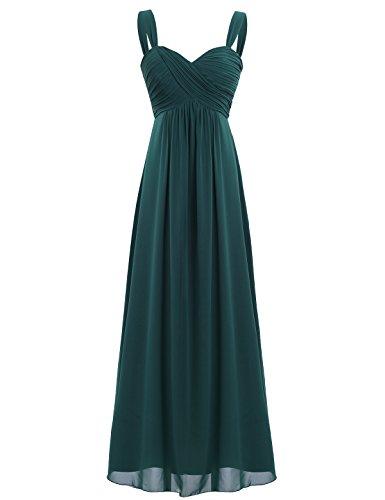 iEFiEL Elegant Damen Kleider Sommer Chiffon Kleid Lang Cocktailkleid Abendkleider Hochzeit Party Kleider Gr. 36-46 Dunkelgrün 46