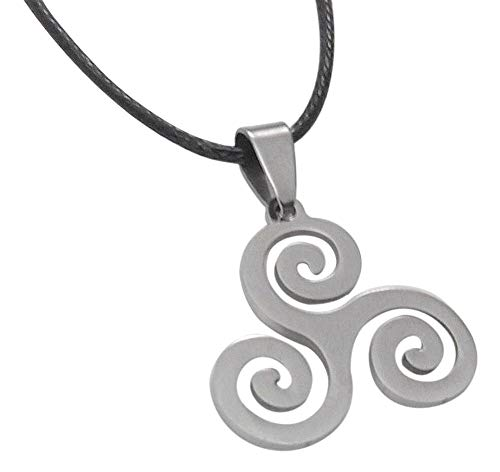 Générique Collana con Ciondolo, Simbolo Triskel Spirale Acciaio levigata, qualità A++.