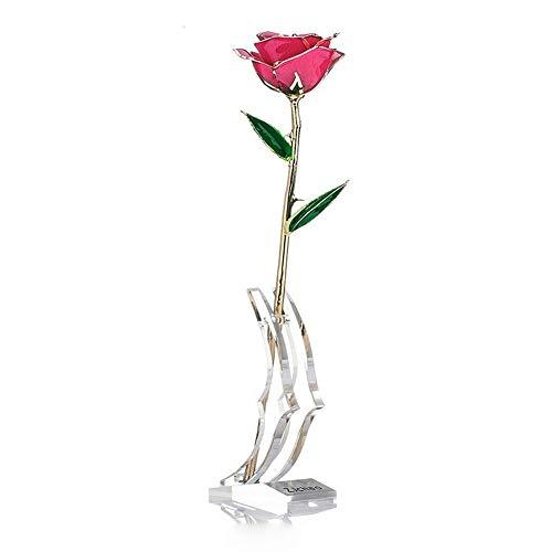 ZJchao 24 Karat Rose vergoldet mit Geschenkbox und Ständer, Rosen-Geschenke für Sie und die Eterne, stabilisierte Geschenkideen zum Jahrestag, Muttertag, Weihnachten, Hochzeit, Geburtstag (Rosa)