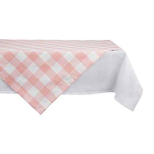DII Buffalo Check Collection Classic Tabletop, Table Topper, 40x40, Pink & White