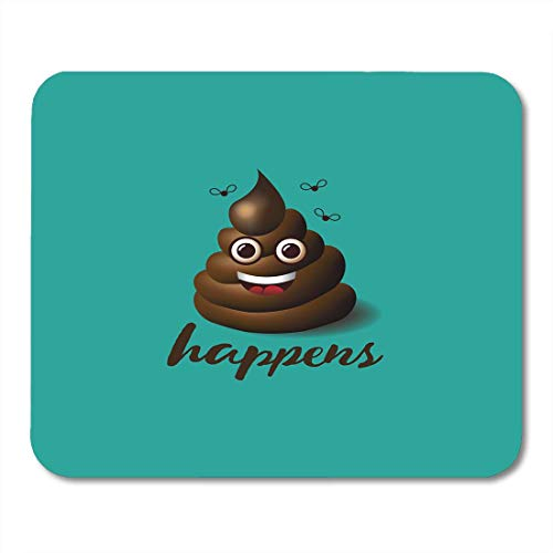 Mouse Pads Cartoon Brown Poop Smiling Face Shit Happens Emoji Design 10 Bullshit Character Mouse Pad for Notebooks,Desktop Computers Mouse Mats, Office Supplies