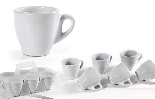 GICOS IMPORT EXPORT SRL Set 6 tazzine Tazze caffè Bianche Colazione capienza 95 ml Forma Alta QEX-791000