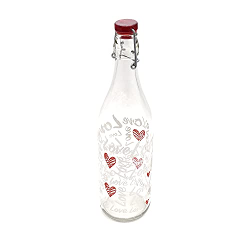 takestop Bottiglia di Vetro da 1 Litro con Cuori e Scritta Love 31 Cm