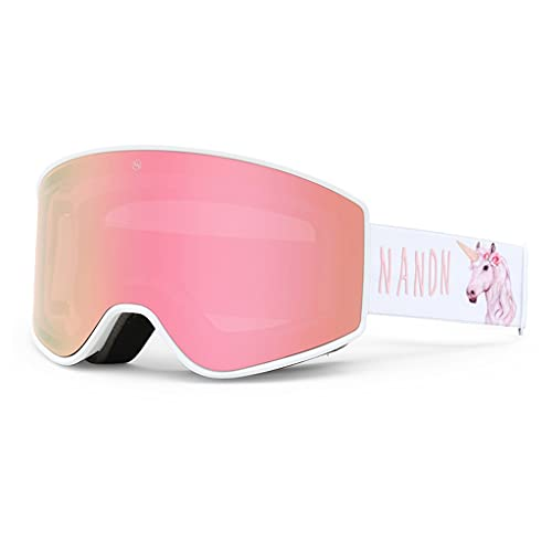 ShiLiLiShop Gafas de esquí VLT: 30% gafas cilíndricas para hombre y mujer con lentes extraíbles (color rosa