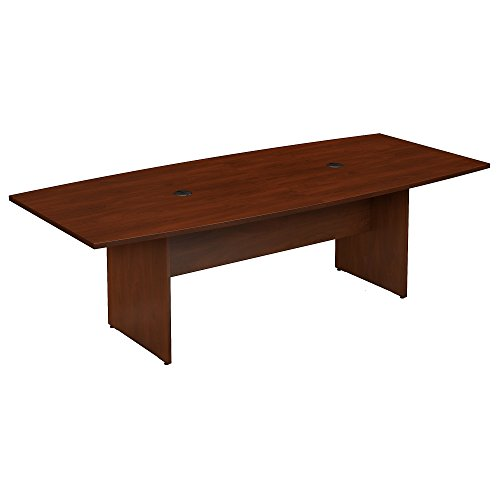 Bush Business Furniture 96W x 42D Boat Shaped Conference Table with Wood Base in Hansen Cherry