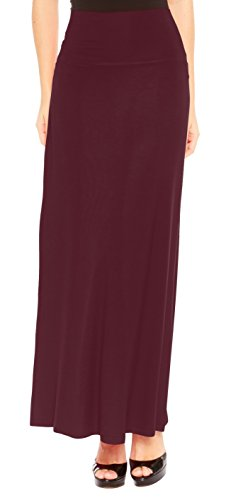 Red Hanger Women's Stylish Solid Long Maxi Skirt - Made in USA, Burgundy-L