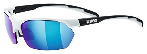 uvex Unisex– Erwachsene, sportstyle 114 Sportbrille, white black mat/blue, Einheitsgröße