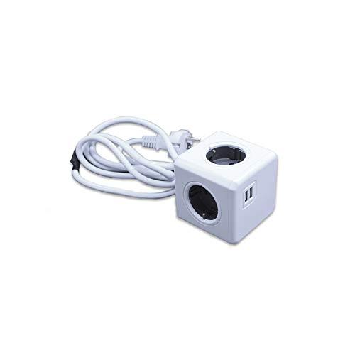 Multipresa con 2 prese USB e 4 prese (grigio con cavo da 1,5 metri)