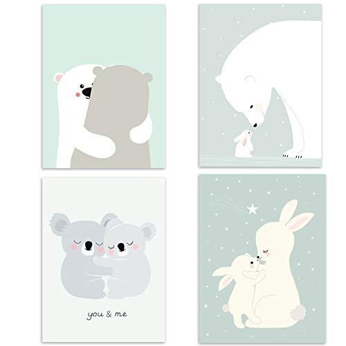 Juego de 4 pósteres para habitación de bebé, tamaño DIN A4, decoración para niños y niñas, diseño de animales del bosque, escandinavos 4er-a