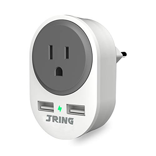 UK to EU European Plug Adapter with 2 USB Ports - Euro Europe Travel Adapter Power Adaptor for Spain Italy France Iceland Poland and More (Type C)