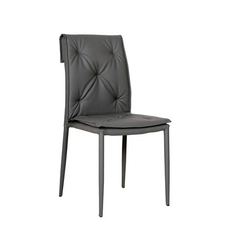 Cribel, Set 4 sedie Mixi Ecopelle Cenere, Imbottita impilabile per Sala da Pranzo Cucina Soggiorno