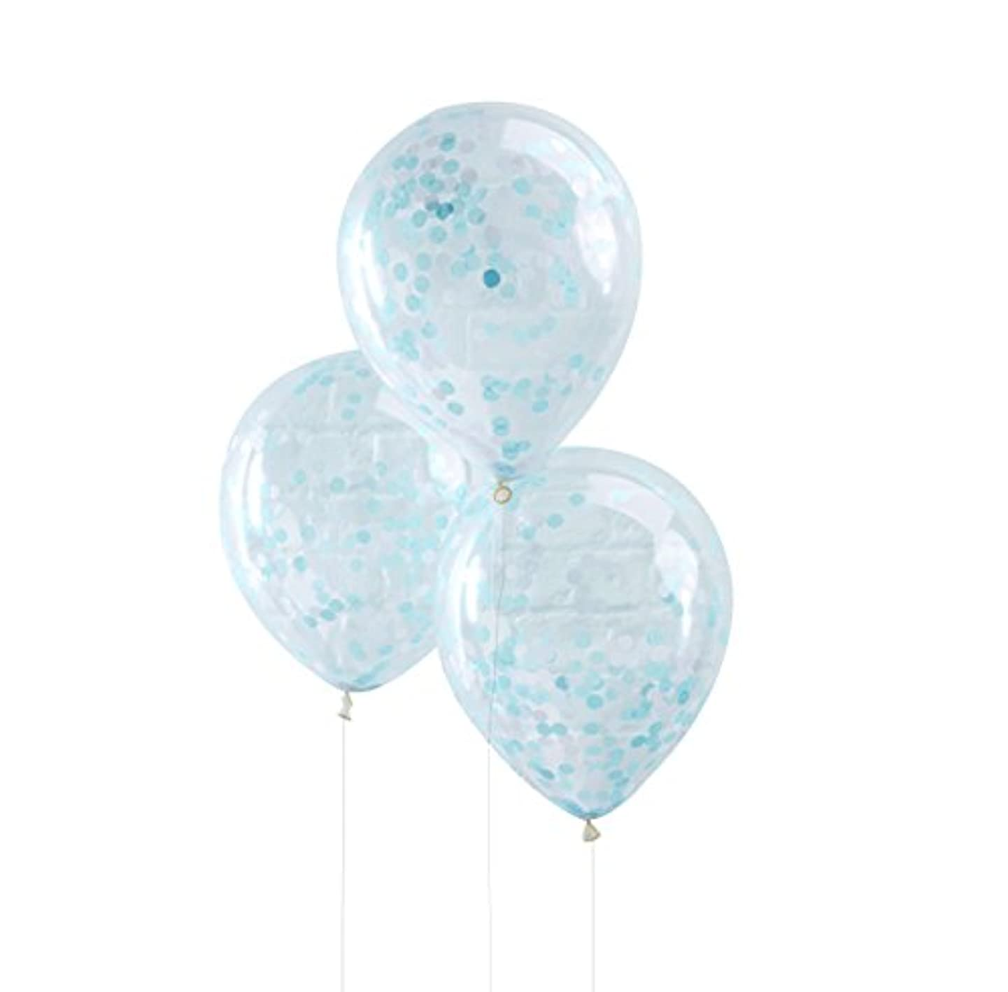 Ginger Ray Blue Confetti Filled Clear Party Balloons X 5 Party Decorations- Pick And Mix