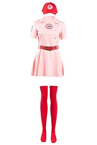 Generic Dottie Baseball Kostüm Dress Kleid Uniform Rot Damen XXXL