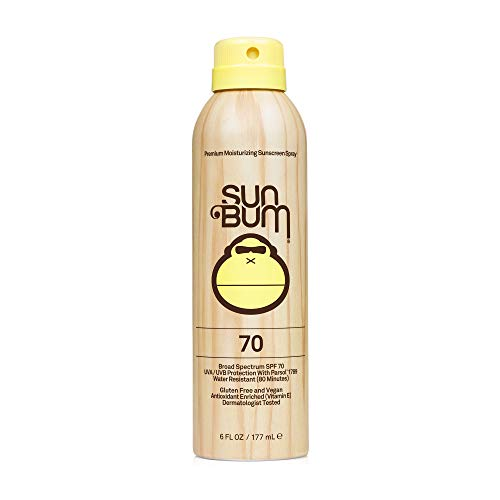 Sun Bum Original SPF 70 Sunscreen Spray |Vegan and Reef Friendly (Octinoxate & Oxybenzone Free) Broad Spectrum Moisturizing UVA/UVB Sunscreen with Vitamin E | 6 Fl Oz