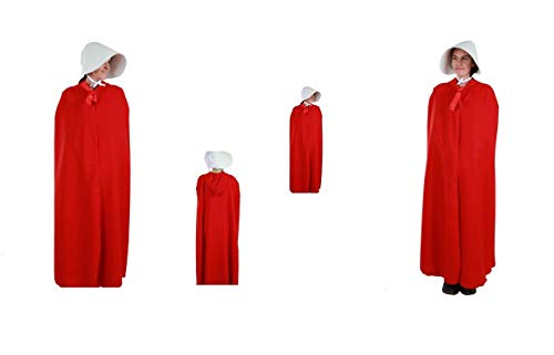 LBA Disfraz de El Cuento de la Criada. Disfraz compuesto de Capa con capucha y Sombrero. Talla nica de adulto.