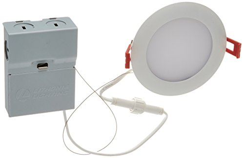 """Lithonia Lighting WF4 LED 30K MW M6 9.6W Ultra Thin 4"""" Dimmable LED Recessed Ceiling Light, 3000K, White"""