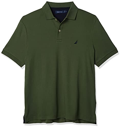 Nautica Men's Classic Fit Short Sleeve Solid Soft Cotton Polo Shirt, pine forest, X-Large