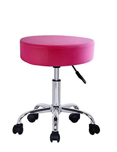 Crisnails - Taburete Giratorio con Ruedas para Peluquería, Cosmética, Dentista, Silla de Trabajo Profesional Giratoria con Ruedas Diferentes Colores (Rosa)