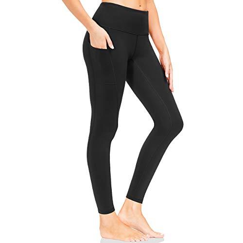 LOOGU Sporthose Damen Leggings mit hoher Taille Blickdicht 7/8 Lange Fitnesshose mit Taschen Sommer Leggins Lang Sport Training Fitness Yoga