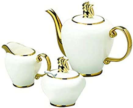 Conjunto 3 Peças para Café de Porcelana Charme Lyor Branco/ Dourado