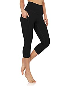 ODODOS Women's High Waisted Yoga Capris with Pocket, Workout Sports Running Athletic Capris with Pocket