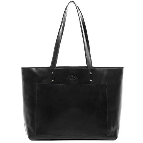 SID & VAIN Handtasche echt Leder Piper XL groß Ledertasche Henkeltasche Ledertasche Damen schwarz