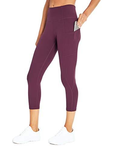 Jessica Simpson Sportswear Tummy Control Pocket Capri Legging, BlackBerry Wine, Small
