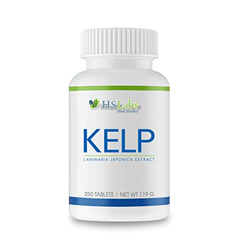 HSLabs Sea KELP 250 Tablets High Dosage Iodine 200 µg Natural Pure Laminaria Japonica Extract Seaweed Brown Algae Supplement Rich in Iodine Premium Raw Material Quality 250 Servings