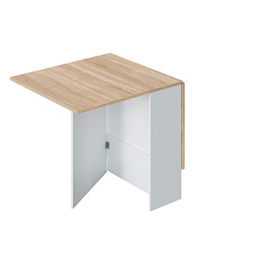 Mesa Auxiliar con Alas Abatibles, Mesa Cocina, Acabado en Color Blanco Artik y Roble Canadian, Modelo Fly, Medidas: 77 cm (Largo) x 31-140 cm (Ancho) x 79 cm (Alto)