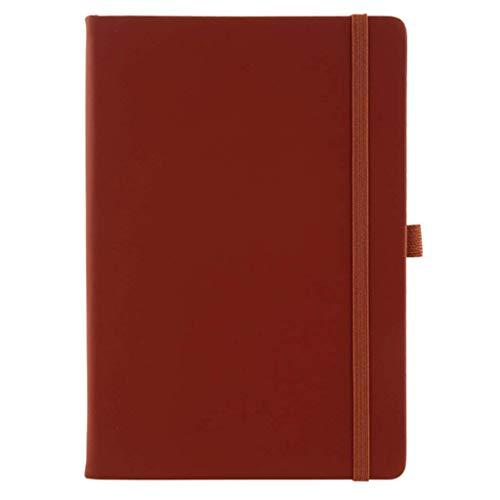 MLOZS Cuaderno de cuero con rayas A5, diario de diario, tapa dura, superficie dura, para mujeres, hombres, niñas, trabajo, reuniones escolares (color marrón